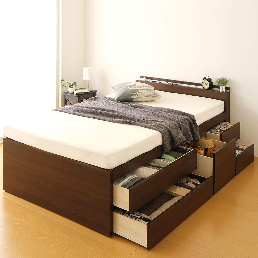 国産 宮付き コンセント付き 大容量 収納ベッド