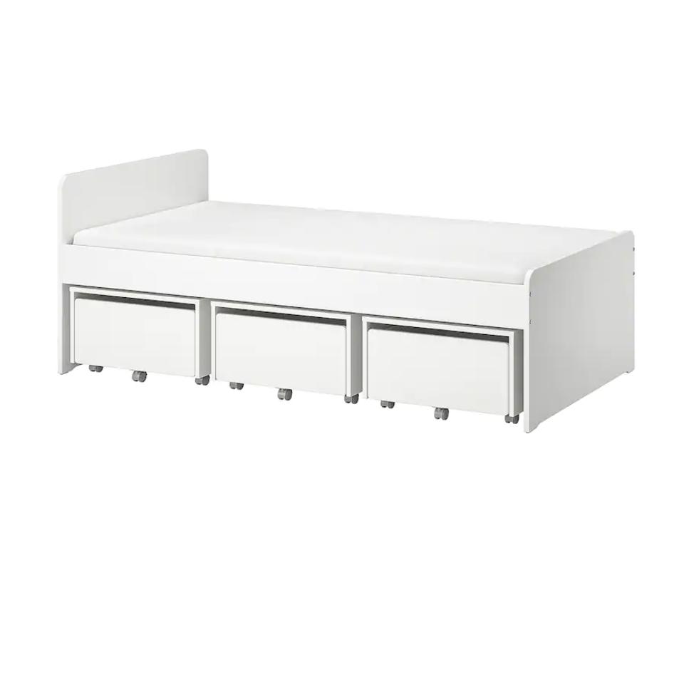 SLÄKT スレクト|収納ボックス3台付きベッド